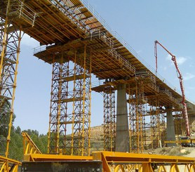 Realizacja wiaduktu na wieżach T-500