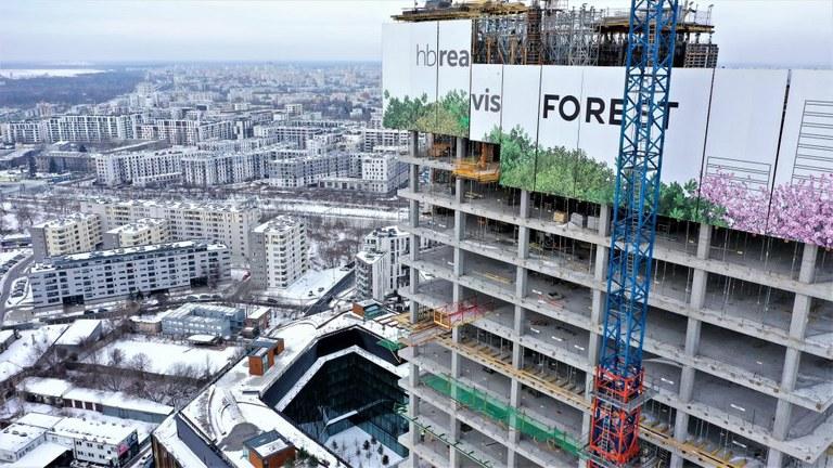 Kompleks biurowo-usługowy z terenami zielonymi o powierzchni dwóch boisk piłkarskich